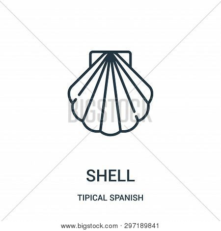 Shell Icon Isolated On White Background From Tipical Spanish Collection. Shell Icon Trendy And Moder