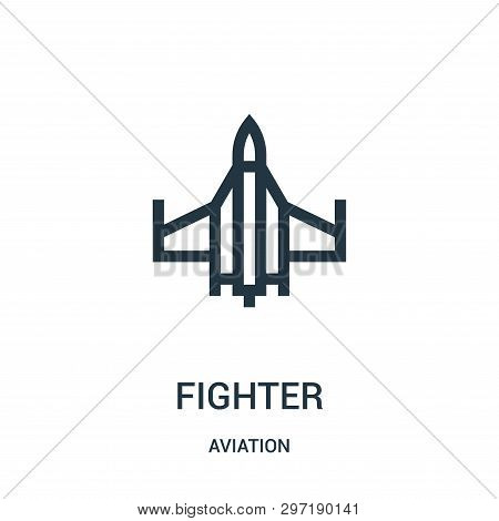 Fighter Icon Isolated On White Background From Aviation Collection. Fighter Icon Trendy And Modern F
