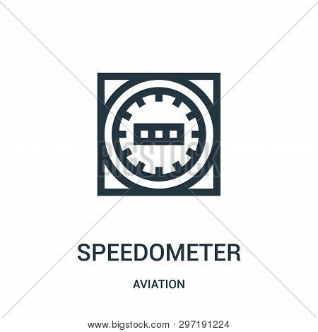 Speedometer Icon Isolated On White Background From Aviation Collection. Speedometer Icon Trendy And