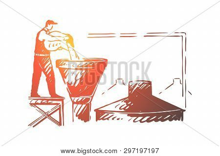 Brewery Worker, Alcohol Factory Employee, Brewer Pouring Ingredient In Tank, Ale Making Craft. Beer
