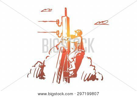 Lineman Climbing Up Telephone Post, High Voltage Line, Dangerous Profession. Cable Man, Electrician