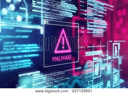 A Computer Screen With Program Code Warning Of A Detected Malware Script Program. 3d Illustration