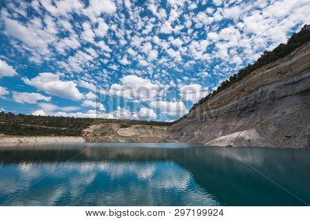 Turqoise Lake In An Open Pit Mine In Guadalajara, Spain