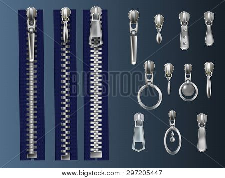 Set Of Metal, Closed Zippers On Blue Fabric Tape And Steel Pullers With Various Eyelets Realistic 3d