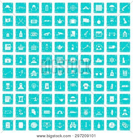 100 Offence Icons Set In Grunge Style Blue Color Isolated On White Background Illustration