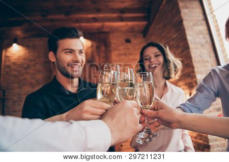 Cropped Close-up Wineglasses Nice Winsome Lovely Attractive Pretty Cheerful Positive Guys Ladies Hav