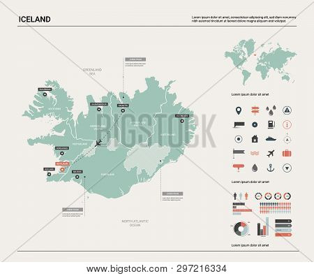 Vector Map Of Iceland. High Detailed Country Map With Division, Cities And Capital Reykjavik. Politi