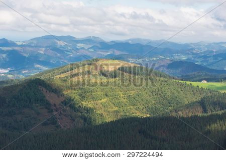 Vizcaya mountain and valley landscape in oiz mount, Basque country, Spain. poster