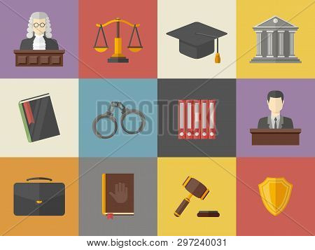 Law And Justice Icons Set Illustration In Flat Style.vector Pictogram Of A Judge, Briefcase, Book, H