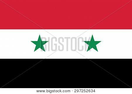 Syria Flag Vector. Syrian Flag With Two Stars. Syria Flag Sign.