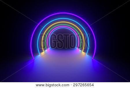 Futuristic Sci-fi Dark Room With Glowing Neon. Virtual Reality Portal, Vibrant Colors, Laser Energy