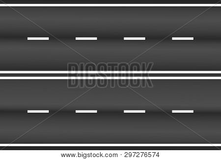 Asphalt Road Texture With White Stripes Vector Eps10. Vector Illustration Asphalt Road On White Back