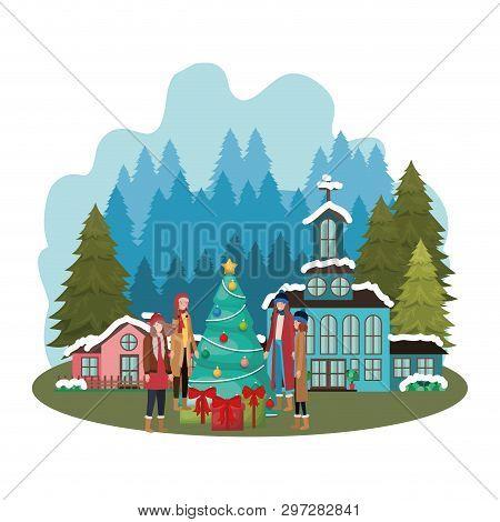 Women With Christmas Tree Outside The Neighborhood Vector Illustration Desing