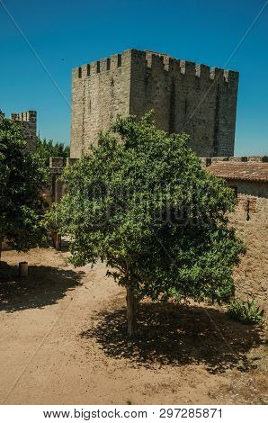 Stone Walls And Tower With Merlons Around Central Courtyard With Green Trees On A Sunny Day At The C
