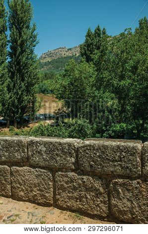 Stone Breastwork From The Roman Bridge And Marvao Village On Top Of Crag In The Background, On Sunny