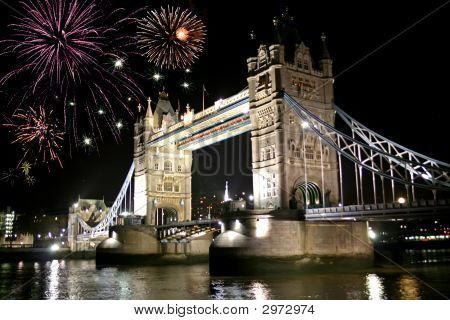 Fireworks Celebration Over Tower Bridge At Night