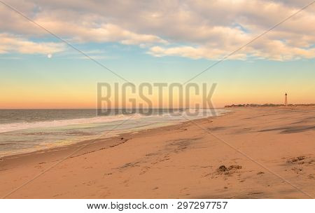 Cape May, Nj, Lighthouse On Beautiful Calming Sunrise On An Early Spring Morning