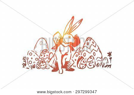 Spring Holiday Celebration, Paschal Tradition, Pysanka With Decorative Ornament, Cute Rabbit With Ri