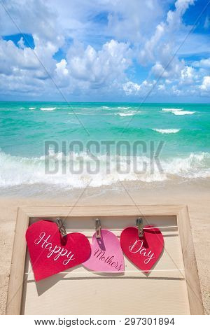 Happy Mothers Day Beach Background With Hearts