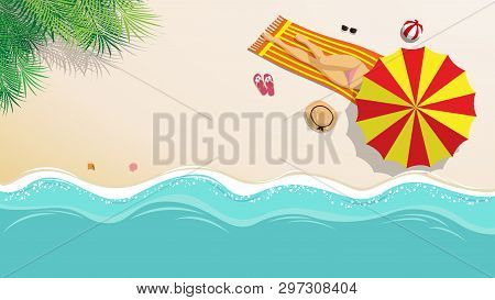 Vector Illustration. Sexy Girl In Bikini Sunbathing On The Beach With Beach Umbrella And Beach Fashi