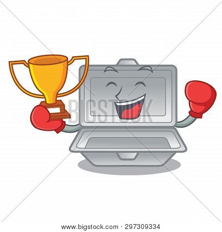 Boxing Winner Cartoon Open Styrofoam Above The Table