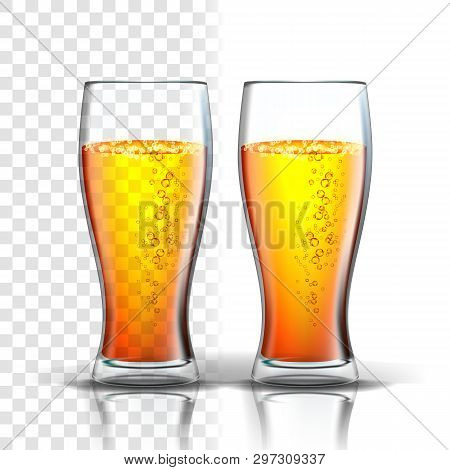 Realistic Glass With Bubbles Lager Beer Vector. Mockup Template Pint Of Light Foamy Alcoholic Craft