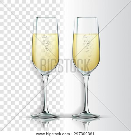 Realistic Glass With Sparkling Champagne Vector. Champagne Is White Wine Product. Crystal Luxury Ele