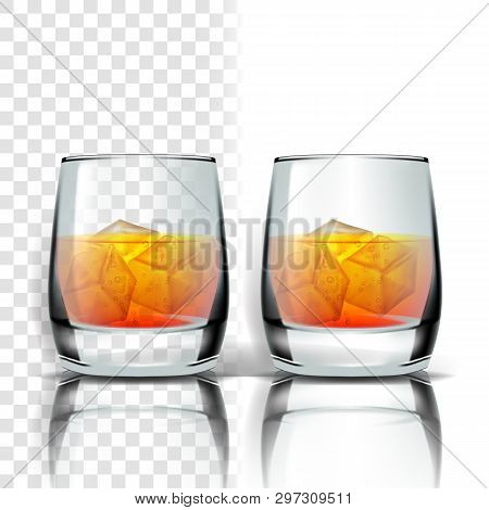Realistic Glass With Whisky And Ice Cubes Vector. Scottish Whisky, Brandy Or Bourbon Distilled Cold