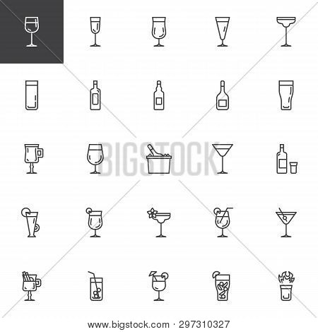 Cocktails Line Icons Set. Linear Style Symbols Collection, Outline Signs Pack. Vector Graphics. Set