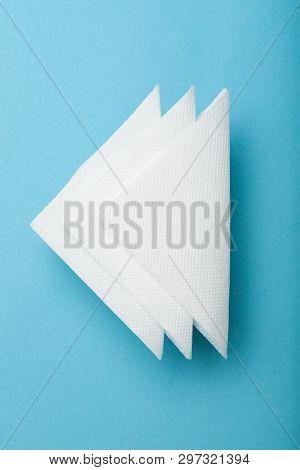 Drink Bar Serviette Paper Napkin Mockup. Blue Background