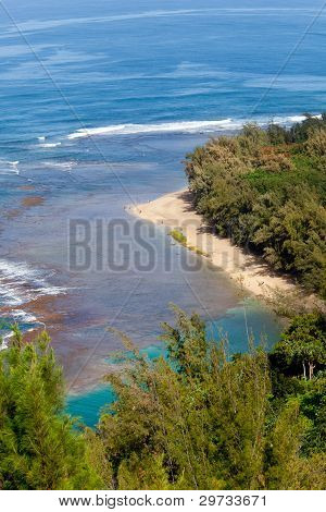 Ke'e Beach On Kauai From Trail