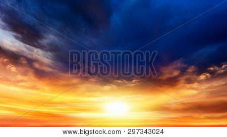 Background Sky At Sunset And Dawn . Paradise Heaven . Dramatic Nature Background . Beautiful Cloud .