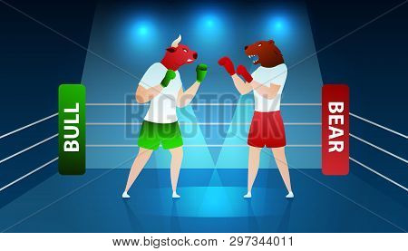 Trade Fighting between Bear and Bull Boxing Ring. Volatile Trading Finance Diagram. Commerce Bank Planning Economy. Bullish Investment Winner Trend Flat Cartoon Vector Illustration poster