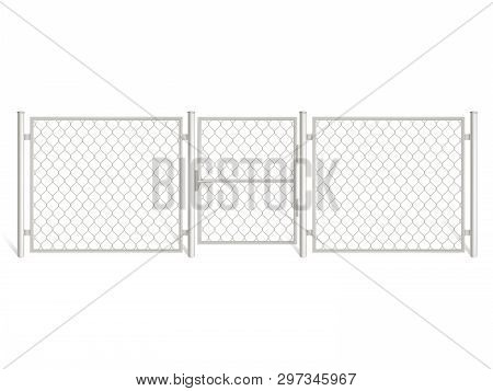 Wire Fence Isolated On White Background. Three Segments Silver Colored Grid Fencing With Gate, Perim