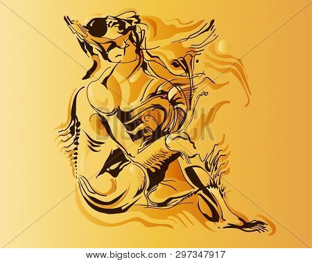 Vector Image Of A Fantastic Amphibian Woman. The Mutant Is Depicted In A Seated Pose. Chimeras Are S