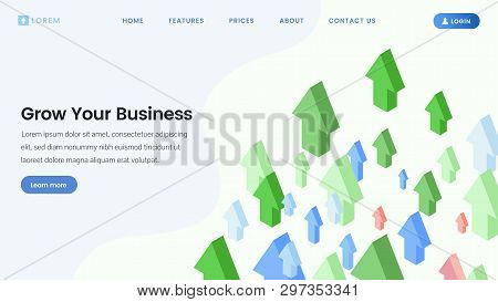 Business Development Service Landing Page. Financial Literacy, Profit Growth, Sales Increasing Cours
