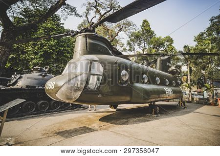 January 24, 2019. Ho Chi Minh City, Vietnam.: American Helicopter Chinook At The War Remnants Museum