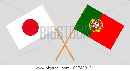 Portugal And Japan. The Portuguese And Japanese Flags. Official Colors. Correct Proportion. Vector I