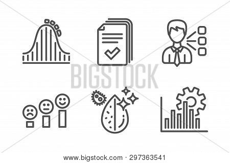 Handout, Roller Coaster And Customer Satisfaction Icons Simple Set. Third Party, Dirty Water And Seo