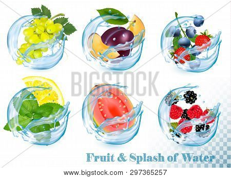 Big Collection Of Fruit In A Water Splash Icons. Grapes, Guava, Citron, Mint, Strawberry, Plum, Blue