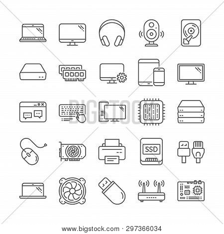 Laptop, SSD, Computer components line icons. Motherboard, CPU, Internet cables icons. Wifi router, computer monitor, Graphic card. Keyboard, SSD device. Internet cables, laptop components. Vector poster