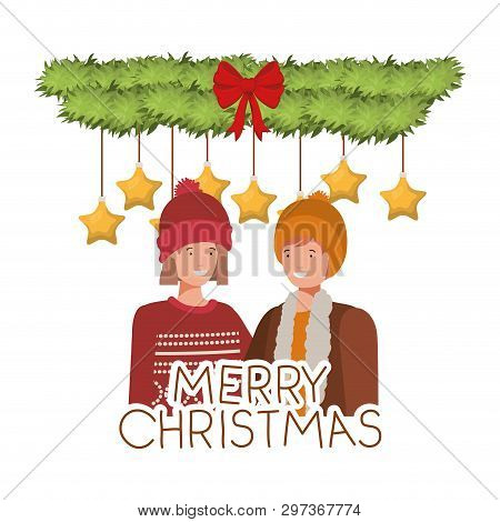 Couple With Christmas Garland Avatar Character Vector Illustration Desing