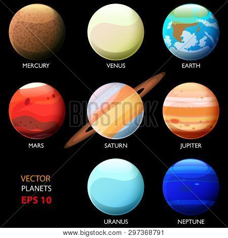 Set of eight planets of the solar system. Mercury Venus Earth Mars Jupiter Saturn Uranium and Neptune. Cartoon style poster