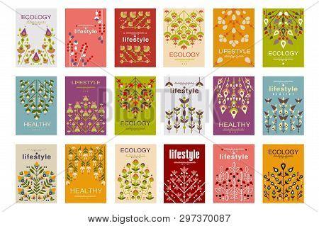 Ecology Cards Set, Ecological Templates For Poster, Banner, Flyer, Invitation, Brochure Vector Illus