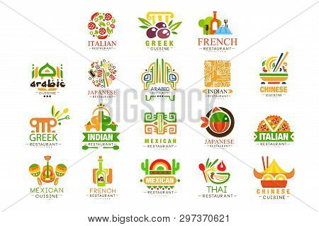 Continental Cuisine Logo Design Set, Italian, Greek, French, Japanese, Mexican Authentic Traditional