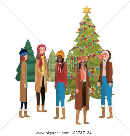 Women With Christmas Tree And Gifts Avatar Vector Illustration Desing