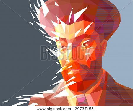 Vector Portrait Of A Jew Man In The Low Polygon Style. The Model Has A Red Beard And Wide Eyebrows.