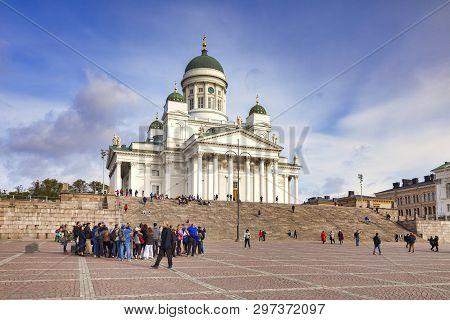 20 September 2018: Helsinki, Finland - Tour Group At Helsinki Cathedral,  The Finnish Evangelical Lu