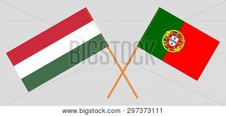 Portugal And Hungary. The Portuguese And Hungarian Flags. Official Colors. Correct Proportion. Vecto