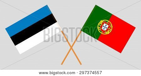 Portugal And Estonia. The Portuguese And Estonian Flags. Official Colors. Correct Proportion. Vector